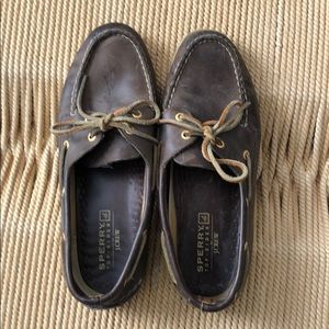Sperry brown leather topsiders - size 9